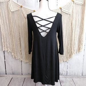 4/$25 Heart Hips Black Criss Cross Open Back Dress